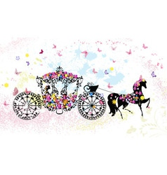 Floral horse carriage vector