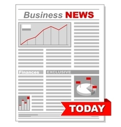 Fresh business newspaper with different diagrams vector