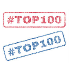 Hashtag top100 textile stamps vector