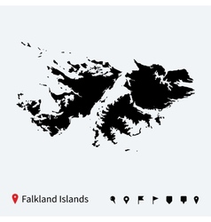 High detailed map of falkland islands with pins vector
