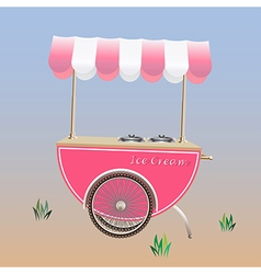 Ice Cream Cart or Ice Cream stand Pink color vector image