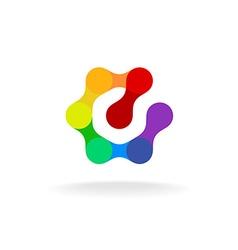Letter e hex logo vector