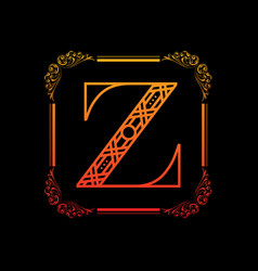 Letter z with ornament vector
