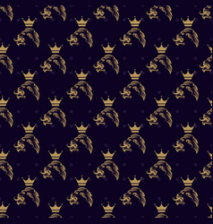Lion and crown seamless pattern vector