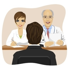 Man sitting opposite mature doctor with assistant vector
