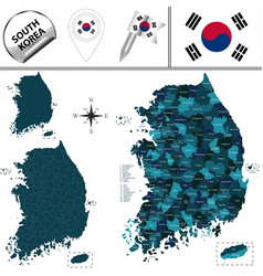 Map of south korea with counties vector