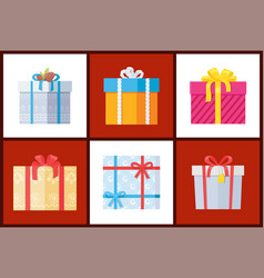 presents wrapped in paper with bows topped decor vector image
