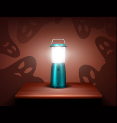 realistic blue flashlight ghosts composition vector image