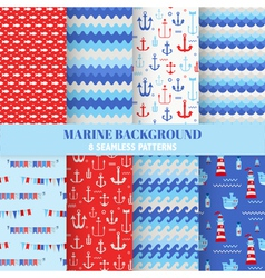 Set of Marine Backgrounds - Sea Time Patterns vector image vector image