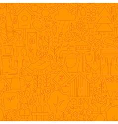 Thin Line Orange Spring and Garden Seamless vector image vector image