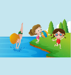three kids swimming in the lake vector image vector image