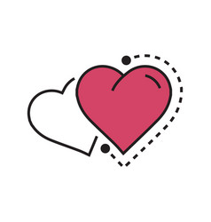 Twins heart icon dots style pink vector