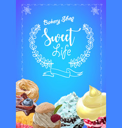 vintage cakes with cream poster design vector image vector image