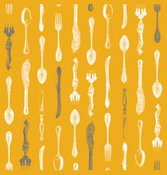vintage silverware pattern vector image vector image