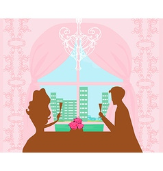 Young couple flirt and drink champagne - vector image