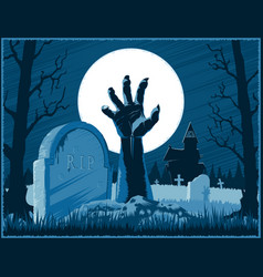zombie hand cemetery halloween vintage background vector image vector image