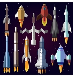 Icons set of space rockets vector
