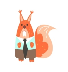 Squirrel in office clothes with tie forest animal vector