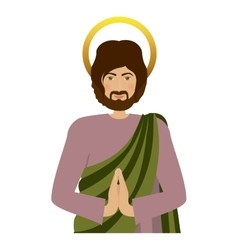 Half body picture saint joseph praying vector