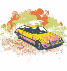 Retro hatchback car illustration vector