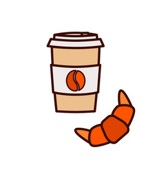 Coffee to go and croissant icon vector