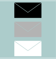 Letter icon black grey white vector