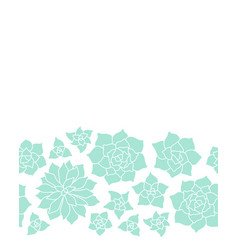 Teal succulent plant seamless border on white vector