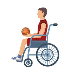 basketball player disabledbasketball single icon vector image