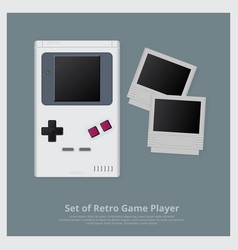 set of retro game player and accessories vector image