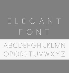 Thin minimalistic font english alphabet vector