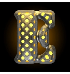 Metal with glow dots figure e vector