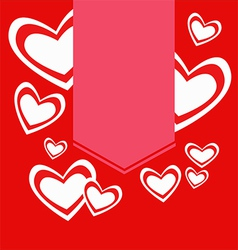 Red hearts with label valentine vector