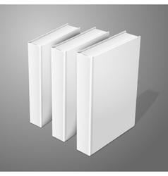 Realistic three standing white blank hardcover vector