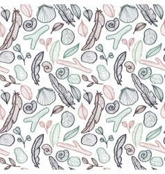 Seamless pattern with nature objects vector