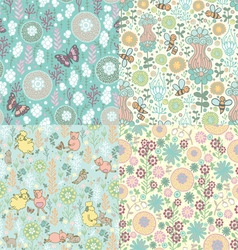 Set of floral patterns vector