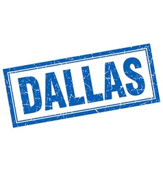 Dallas blue square grunge stamp on white vector