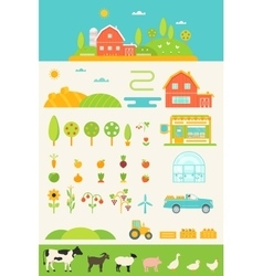 Agriculture and farming infographics elements set vector