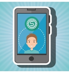 Smartphone and currency isolated icon design vector