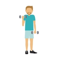 Male athlete practicing weight lifting isolated vector