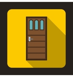 Wooden door with three glasses icon vector