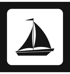 Boat with flag on mast icon simple style vector