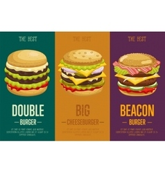 Burgers menu template vector image