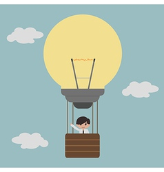 businessman on lightbulb balloon idea eps10 vector image
