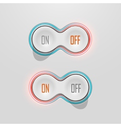 Button Switches with Backlight On and Off Stock vector image