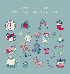 christmas vintage icons vector image vector image