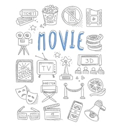 Cinema doodles set of hand drawn vector image