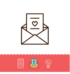 Email icon love sms or romantic message icons vector