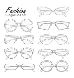 fashion sunglasses set hand drawn glasses vector image vector image