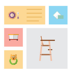 flat baby set of rattle child chair napkin and vector image vector image