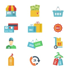 Flat design shopping icons vector image vector image